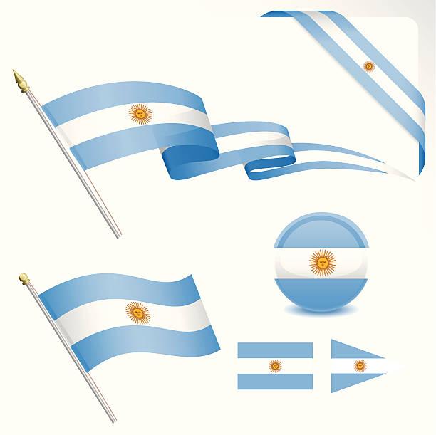argentinian flag set - argentina flag stock illustrations, clip art, cartoons, & icons