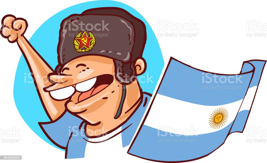 969db8925 Argentinian Supporter With Ushanka Hat And National Flag Football ...