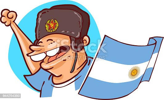 istock argentinian supporter with ushanka hat and national flag football fan cartoon style vector illustration 944254350