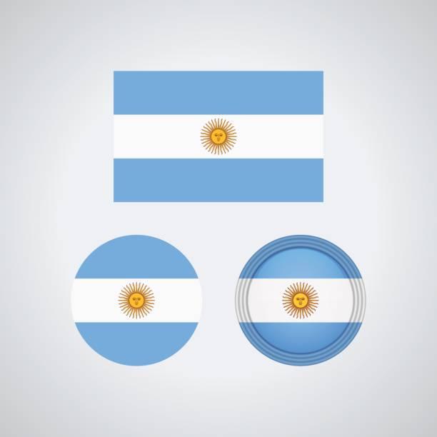 argentinian trio flags, vector illustration - argentina flag stock illustrations, clip art, cartoons, & icons