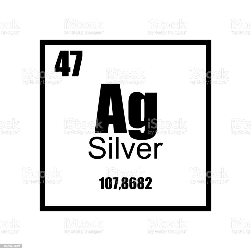 Argentum Silver Periodic Table Element Black On White Background