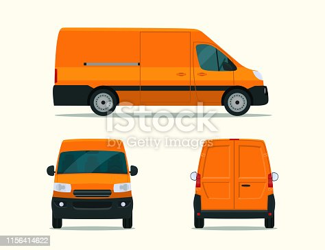 Ð¡argo van isolated. Ð¡argo van with side view, back view and front view. Vector flat style illustration.