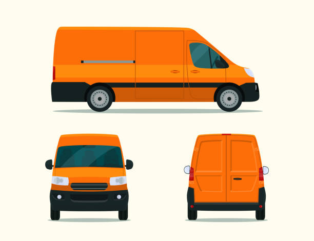 Ð¡argo van isolated. Ð¡argo van with side view, back view and front view. Vector flat style illustration. vector art illustration