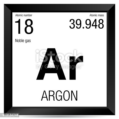 Argon Symbol Element Number 18 Of The Periodic Table Of The Elements