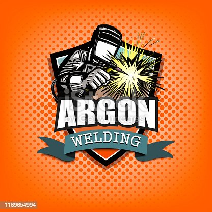 Logo welder in a mask performing argon welding of the metal. Argon welding logo template design. Isolated on orange background. Vector illustration