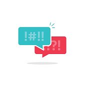 Argue chat bubbles icon vector, argument messages, rude dialog, arguing couple chatting, conflict speech, discussion, abuse symbol isolated on white