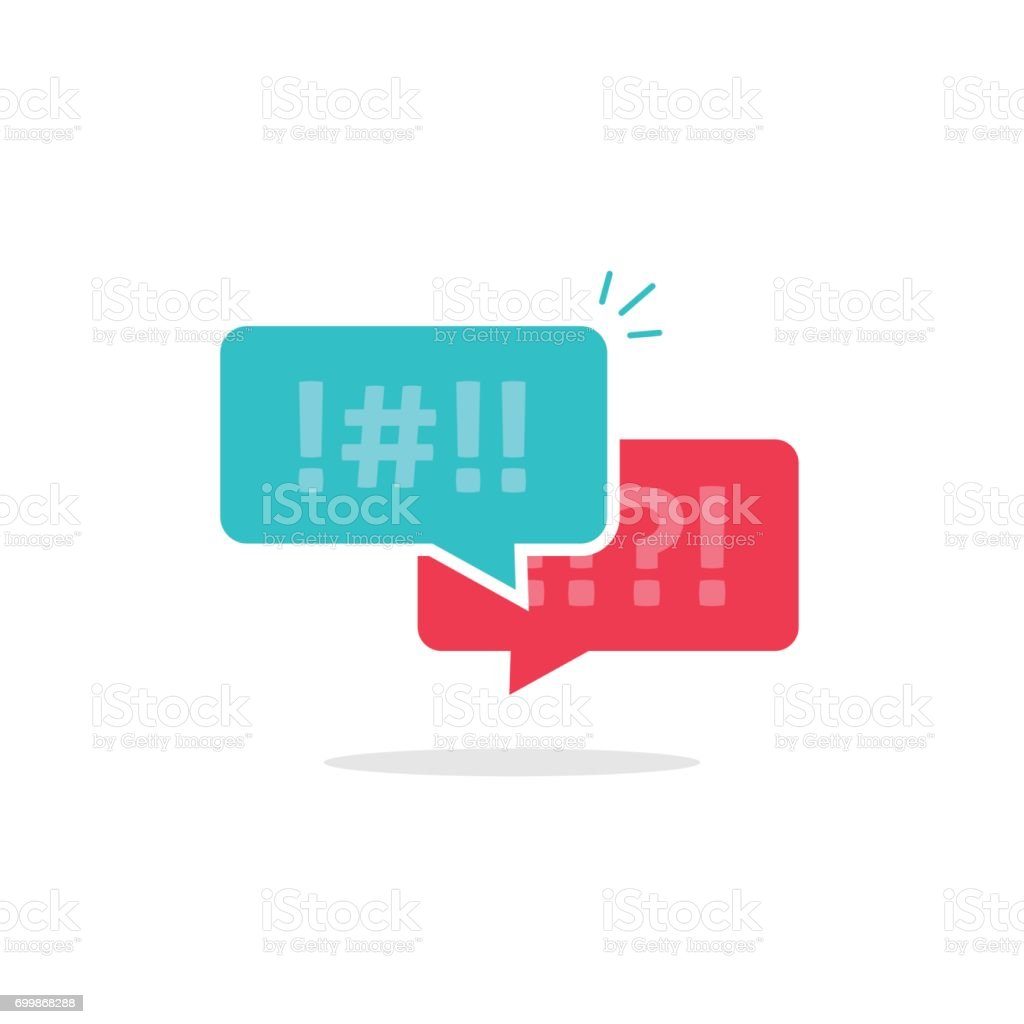 Argue chat bubbles icon vector, argument messages, rude dialog, arguing couple chatting, conflict speech, discussion, abuse symbol isolated on white vector art illustration