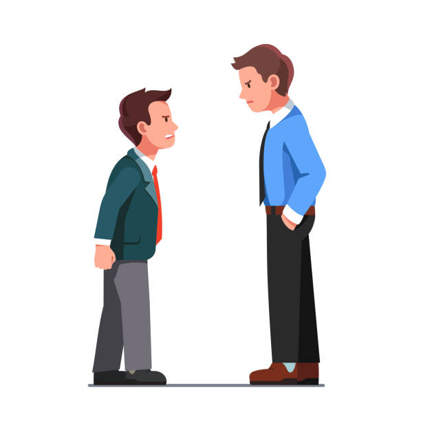 Arguing business men yelling at each other vector clipart illustration Tall and short business men wearing suits arguing, yelling. Aggressive coworkers verbal fight conflict. Angry business people characters disagreement argument. Flat vector illustration aggression stock illustrations