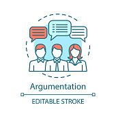 Argumentation concept icon. Persuasion methods, facts substantiation. Business dialogue. Discussion, debate idea thin line illustration. Vector isolated outline drawing. Editable stroke