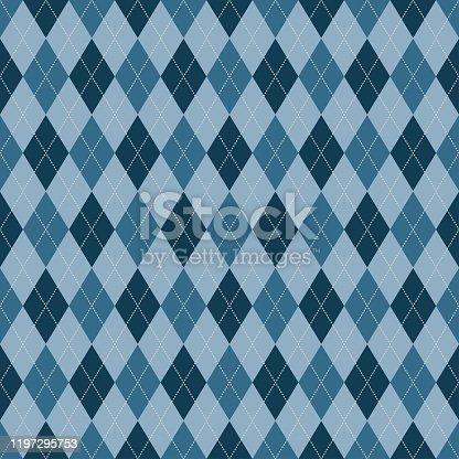 Argyle blue vector seamless pattern