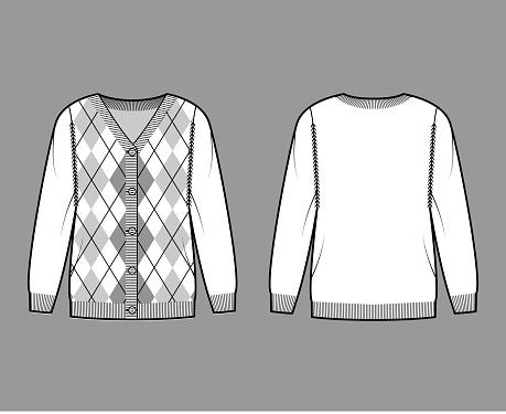 Argyle cardigan technical fashion illustration with rib V-neck, long sleeves, oversize, fingertip length, knit cuff trim