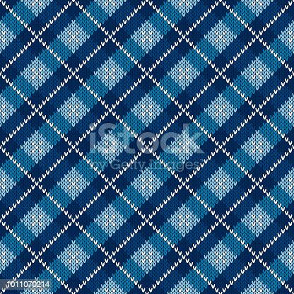 Argyle Checkered Knitted Sweater Pattern Design. Vector Seamless Background with Shades of Blue Colors. Wool Knit Texture Imitation.