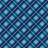 Argyle Checkered Knitted Sweater Pattern Design. Vector Seamless Background with Shades of Blue Colors. Wool Knit Texture Imitation