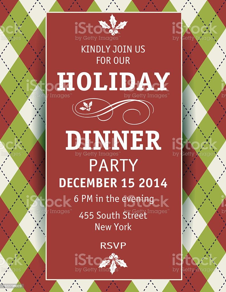 Argyle Christmas Dinner Invitation Template Royalty Free Argyle Christmas  Dinner Invitation Template Stock Vector Art  Christmas Dinner Invitation Template Free
