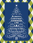 Green and blue Argyle pattern Christmas Dinner vertical Invitation Template.  The argyle background has a blue vertical rectangle in the middle of the poster with a white sketchy Christmas tree and  holiday dinner party invitational text on it.