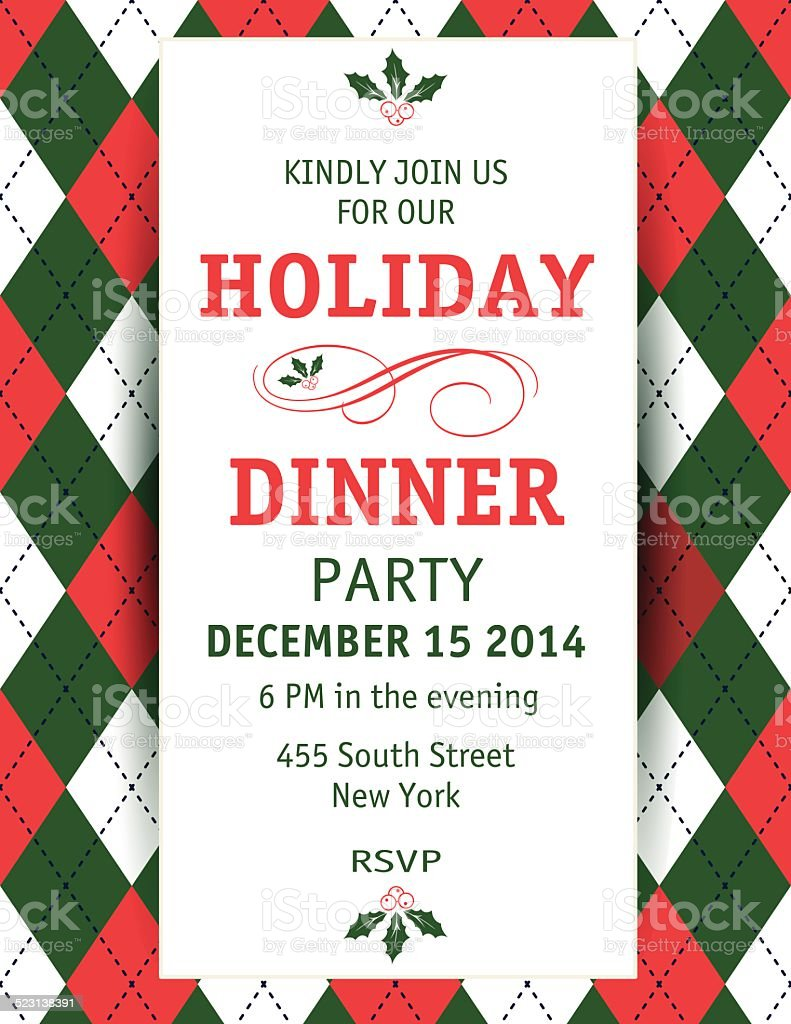 Argyle Christmas Dinner Invitation Template stock vector art