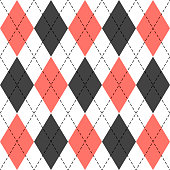 Argyle plaid in live coral colors. Scottish cage
