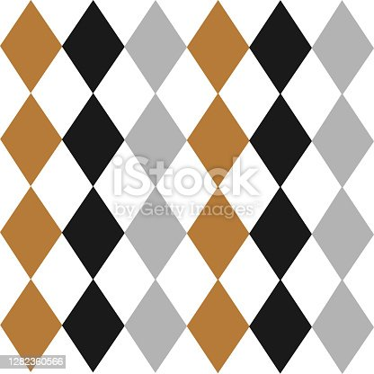 istock Argyle seamless Merry Christmas pattern - made of repeat gold, silver and black diamonds. Made in the traditional Scandinavian style of hand drawing. Print for fabric, wrapping paper, wallpaper and decor 1282360566