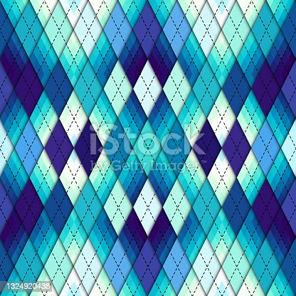 istock Argyle seamless vector pattern background. Pattern of a rhombuses. 1324920438