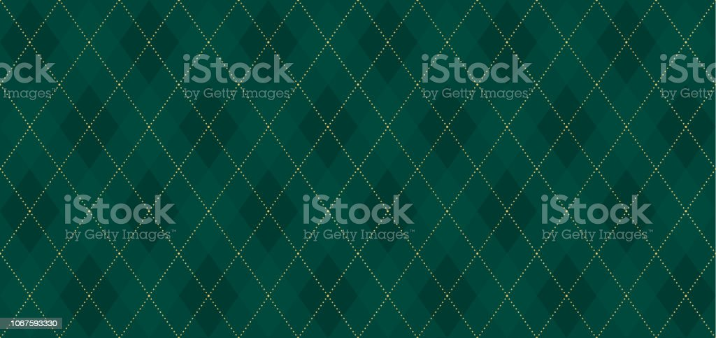 Argyle vector pattern. Dark green with thin slim golden dotted line. Xmas pattern - Векторная графика Ёлочные игрушки роялти-фри