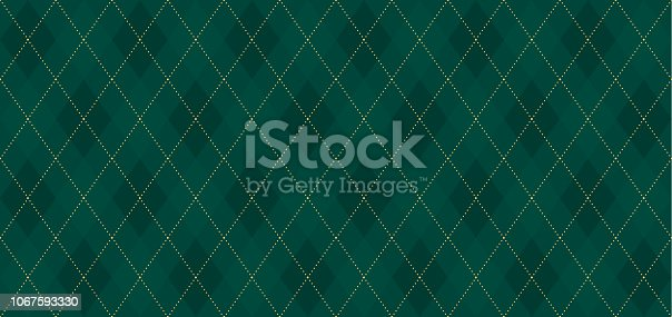 istock Argyle vector pattern. Dark green with thin slim golden dotted line. Xmas pattern 1067593330