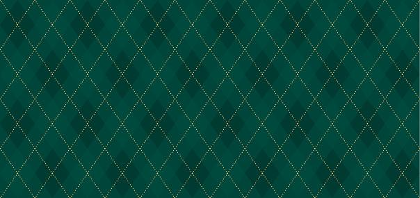 Argyle vector pattern. Dark green with thin slim golden dotted line. Xmas pattern
