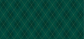 Argyle vector pattern. Dark green with thin slim golden dotted line. Xmas pattern