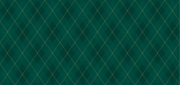 Argyle vector pattern. Dark green with thin slim golden dotted line. Xmas pattern Seamless vivid geometric background for fabric, textile, men clothing, wrapping paper. Backdrop Little Gentleman party invite card holiday background stock illustrations