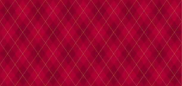 Argyle vector pattern. Dark red with thin golden dotted line. Seamless geometric background textile, clothing, wrapping gift paper. Backdrop Xmas party invite card. Christmas traditional color maroon red cloth stock illustrations