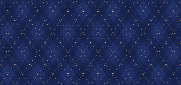 Argyle vector pattern. Navy blue with thin golden dotted line.