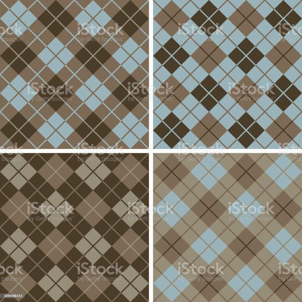 Argyle-Plaid Pattern in Blue and Brown vector art illustration