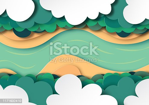 Arial view of forest canopy, clouds and river.Green nature landscape background paper art style vector illustration.