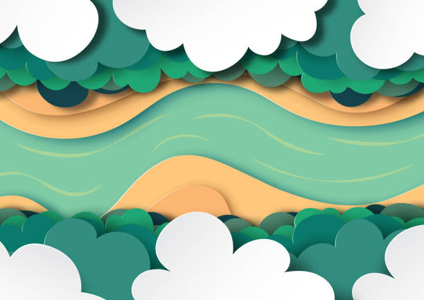 arial view of forest canopy, clouds and river. - river paper stock illustrations, clip art, cartoons, & icons