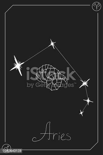 Aries horoscope card with constelation, zodiac sign and a patronizing planet. Hand drawn vector illustration on dark background. Taro card.