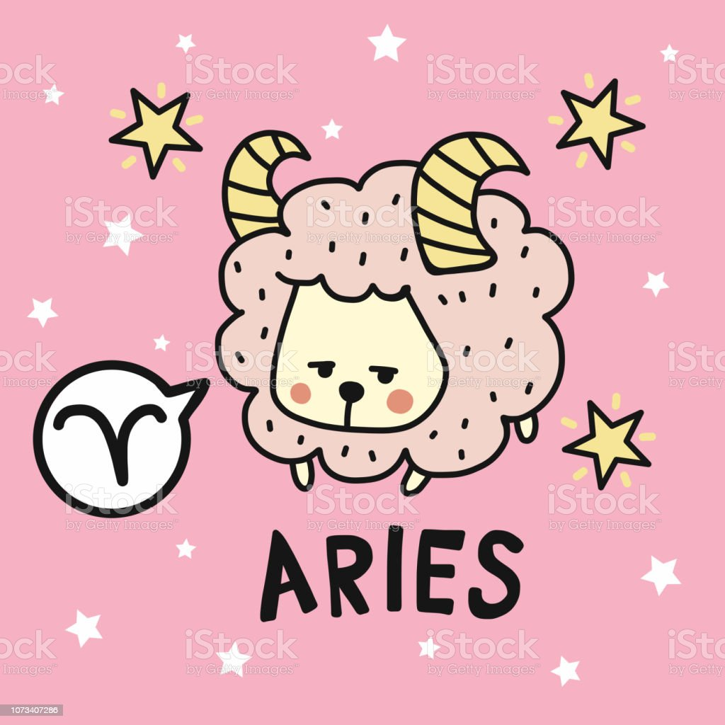 Aries Horoscope Cartoon Vector Illustration Doodle Style Stock