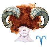 Aries horoscope vector