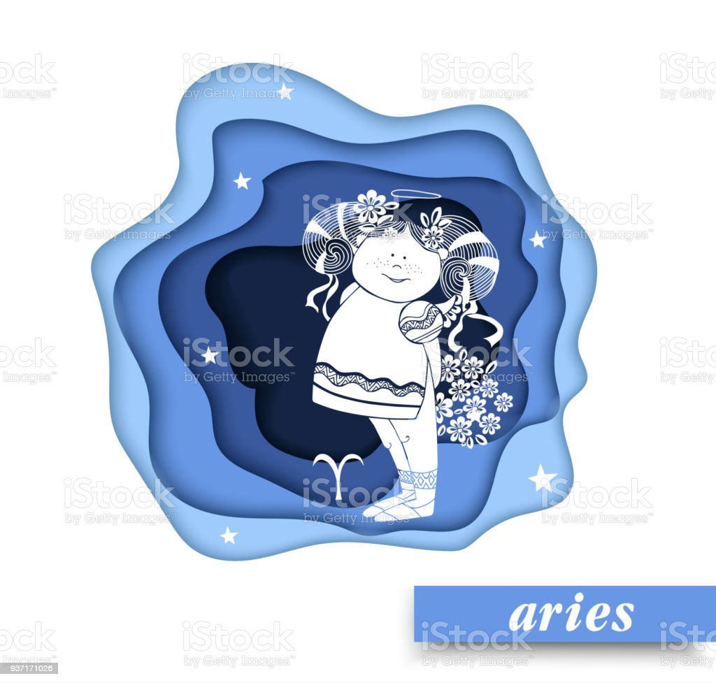Aries Paper Art Aries Of Zodiac And Horoscope Concept Vector