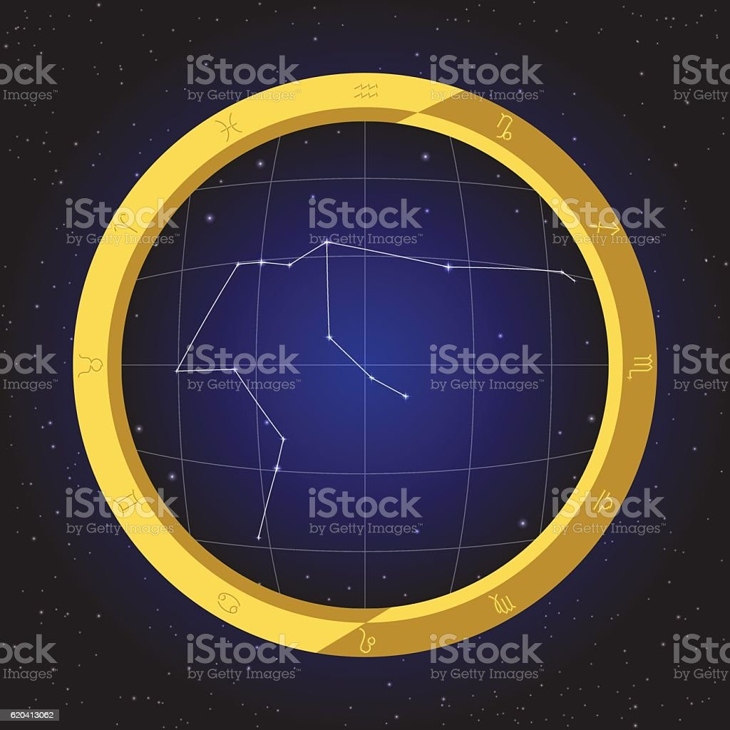 aries star zodiac in fish eye telescope with cosmos background vector art illustration
