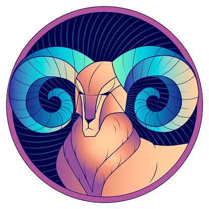 Aries with blue horns zodiac sign horoscope vector