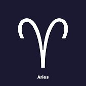 Aries zodiac sign. Astrological symbol. Vector icon on dark blue background.