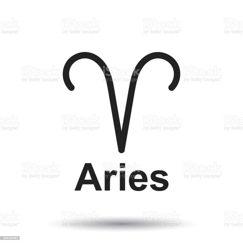 Aries Zodiac Sign Flat Astrology Vector Illustration On Isolated