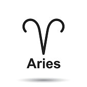 Aries zodiac sign. Flat astrology vector illustration on isolated background.