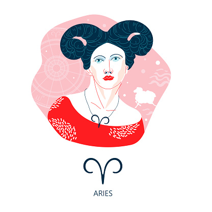 Aries zodiac sign. The symbol of the astrological horoscope.