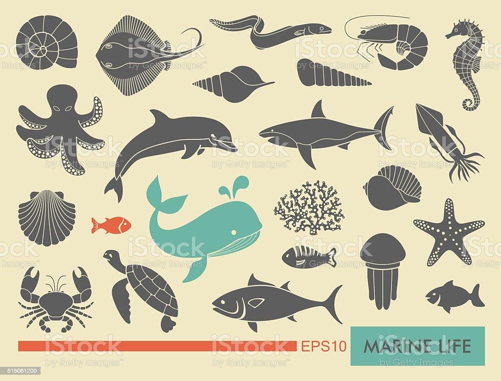 Мarine life icons vector art illustration