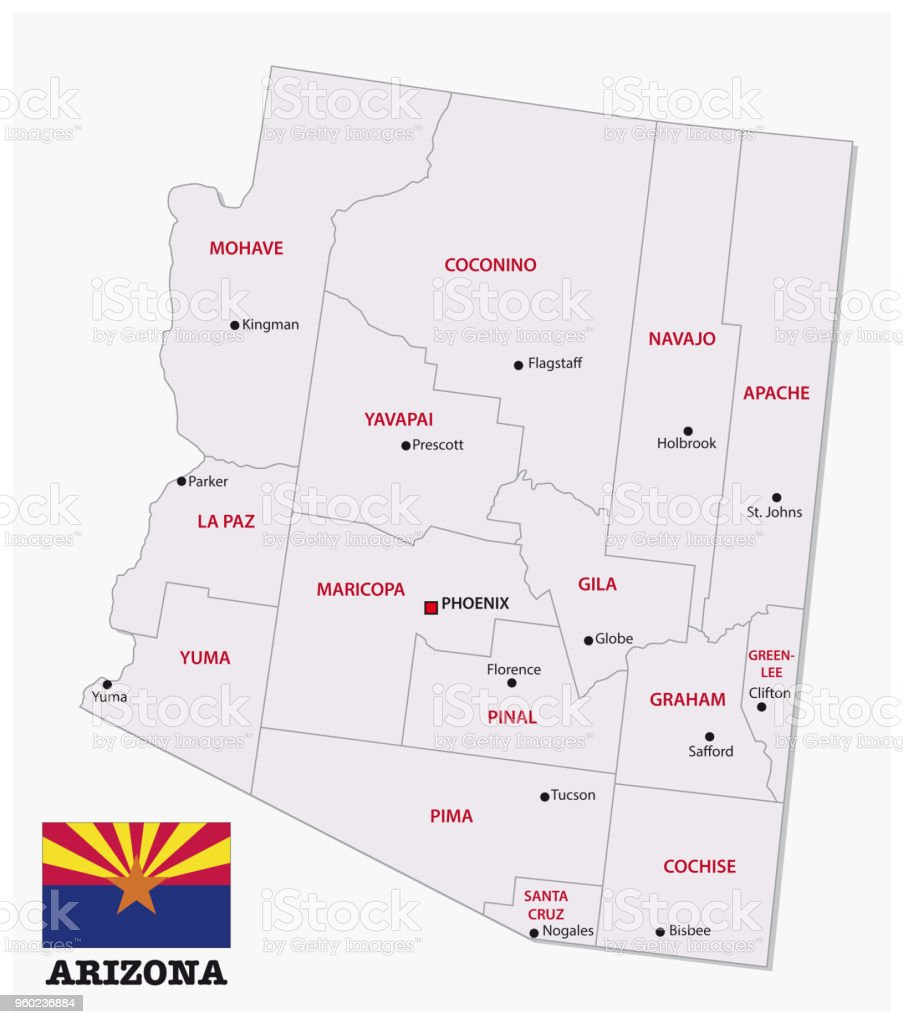 Arizona Administrative And Political Map With Flag Stock Vector Art