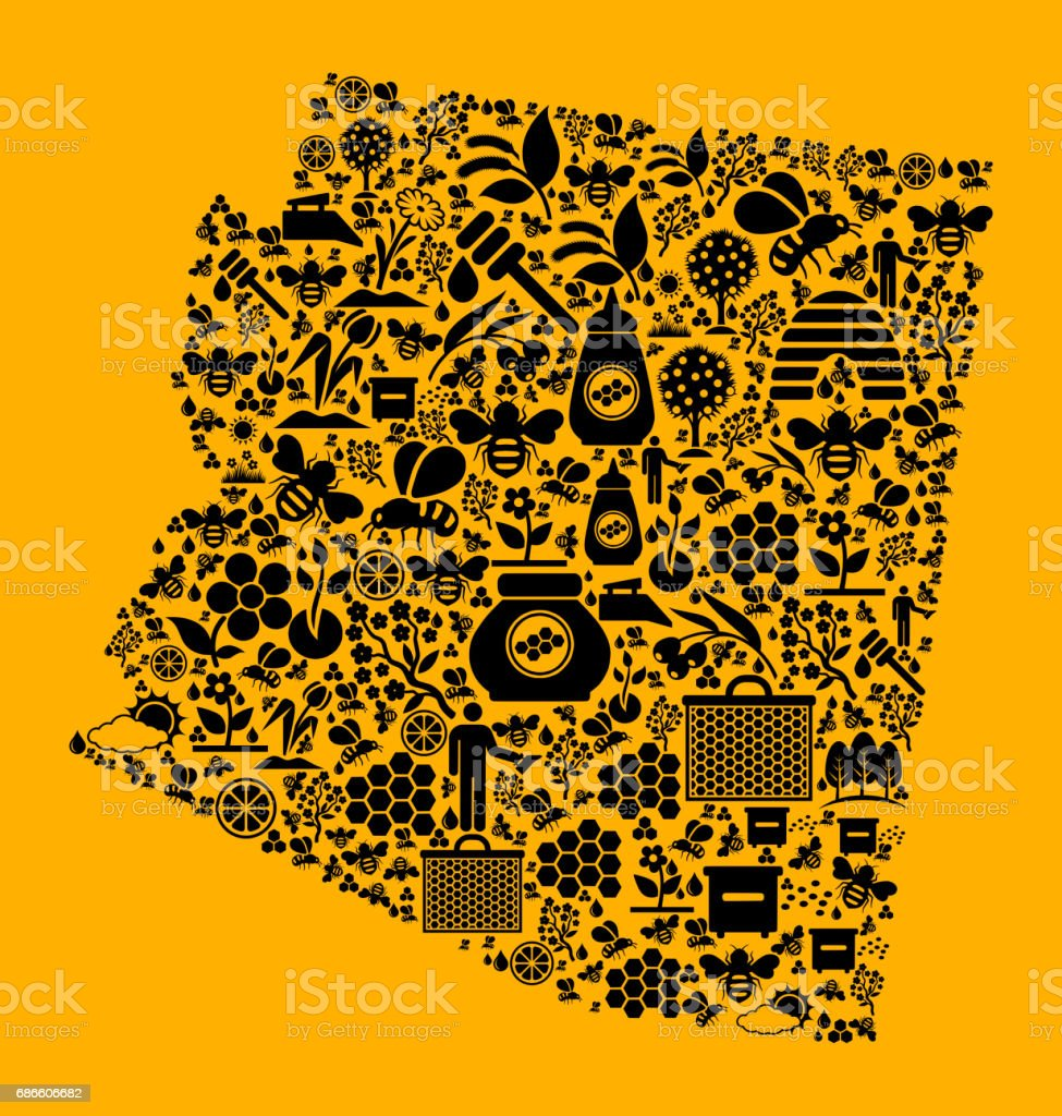 Arizona Bee and Honey Vector Icons Background royalty-free arizona bee and honey vector icons background stock vector art & more images of agriculture