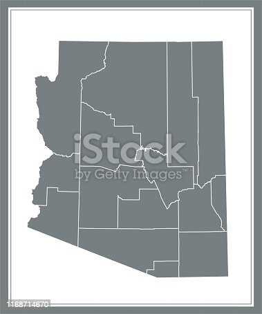 County map of Arizona state of United States of America vector outline illustration image art. The map is accurately prepared by a map expert.