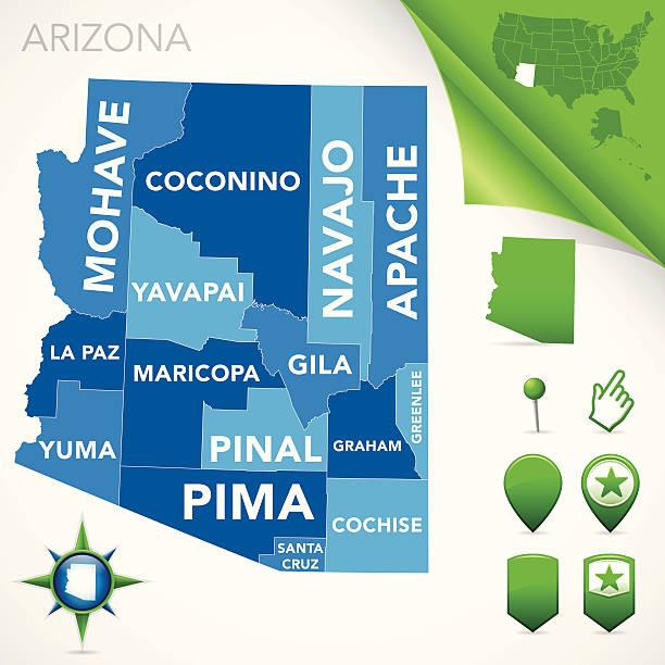 stockillustraties, clipart, cartoons en iconen met arizona county map - arizona highway signs