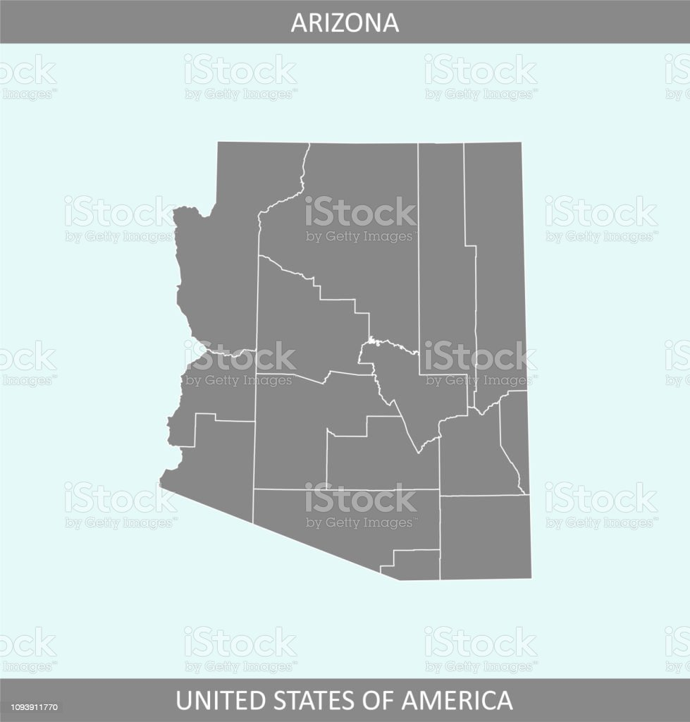Arizona County Map Vector Outline Gray Background Counties ...