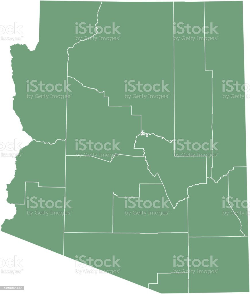 Arizona State Map Free.Arizona County Map Vector Outline Illustration Green Background